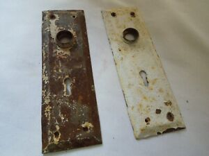"""Set of 2 Antique Steel Door Knob Backplates with Keyhole 7 1/4"""" x 2 1/4"""" 1930's"""