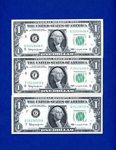 LOT OF 5 1963 $1 5 DISTRICT NOTE SET - FEDERAL RESERVE NOTES - CHOICE UNC