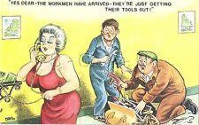 Original British 70s Semi Nude Artistic Comic PC- Old Rich Lady- Handymen- Tools