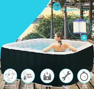 PURE Inflatable Hot Tub Jacuzzi - Airjet Massage Spa - Complete Set - 4 Person