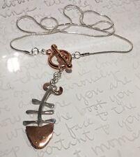 "Modernist 925 Sterling Copper FISH BONES Toggle Pendant Necklace 20.5"" 10.3g"