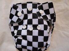 Newborn Preemie Black White Checkered AIO Cloth Diaper Nappy PUL EB1105