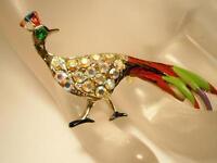 Showy Vintage 1950's Aurora Rhinestone Enamel Bird Brooch                  112jl