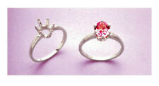 (5x3-10x8mm) Oval Solitaire Sterling Silver Pre-Notched Ring Setting (Size 5-8)