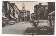 Center Street Cars Bath Maine 1957 postcard