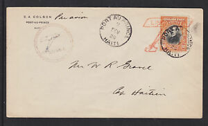 Haiti Sc 318 on 1928 Cover, red Lindbergh Plane cancel