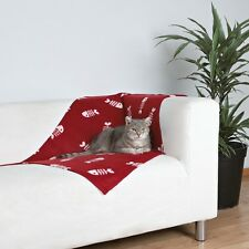 NEW Blanket For Cats and Kittens Red With Fish Design 37193