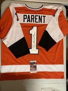 Bernie Parent Autograph Signed Flyers Orange XL Jersey Inscribe HOF 84 JSA