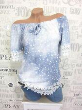 Bluse Tunika Shirt Häkel Spitze off Shoulder Jeans-Optik 36 38 40 used Blau EF57