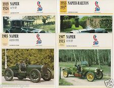4 FICHES AUTOMOTIVE GB CAR NAPIER RAILTON 40/50 HP 60/90 HP GRAND PRIX 1903-1937