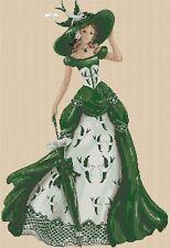 Elegante Señora Verde Vestido Largo Punto de Cruz Kit Completo #1-156j