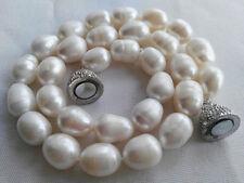 kultiviert große 10-11mm weiße Süßwasser-Perlenkette 45cm Magnetverschluss