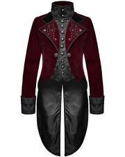 Devil Fashion Mens Gothic Tailcoat Jacket Red Velvet Black Brocade Steampunk VTG