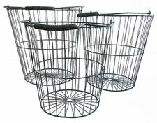 Rustic SET of 3 Three Large Wire Baskets Garden Storage Distressed Exc QUALITY !