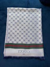 "Gucci GG print Light Denim 100% silk scarf made in Italy 70""x30"""