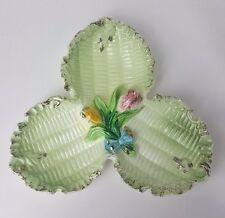 Green Gold Floral Divided Flower Leaf Dresser Dish Vintage Trinket Tray 3845