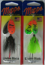 2 - MEPPS Aglia Double Blade Spinners - 5/16 oz. - Firetiger & Orange/Black