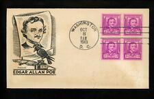 US FDC #986 2nd Day McCawley NIM 1949 DC Edgar Allen Poe Author Writer 2nd Day
