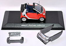 Smart Fortwo Cabrio 2003-07 Facelift A450 Rouge + Gris Phat Red + Baie Gris 1:43