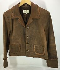 EUC Women's Scully Brown Leather Jacket Faux Horn buttons Short fringe Sz M