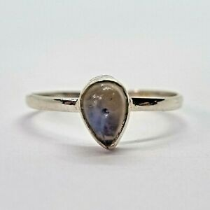 Brand New Sterling Silver 925 Moonstone (Pear) Ring, Size N