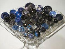 40 Dark Blue Vintage Sewing Buttons #2