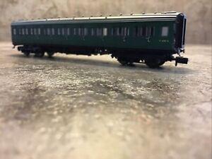 N Gauge Maunsell Coach BR 1st Class SR Green 7665