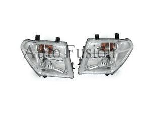Headlight Pair +Globeshade Manual Adjustment For Nissan Navara D40 2005-2010