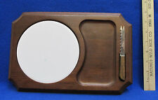 Wooden Cheese Board Tray Ceramic Round White Tile Knife With Steel Blade 3 Pc