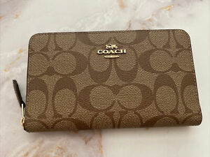 NWT  Coach Medium Id Zip Wallet In Signature Canvas khaki saddle Brown leather