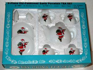 VINTAGE 9 piece SANTA TEA CHINA SET Mint/Factory Sealed Vintage B. Shackman