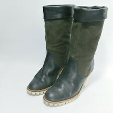 Lacoste 6 Boots Leather Heel Green Black Women Mid Calf Pull On Boho