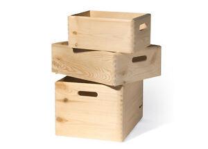 Stapelkisten Set, ohne Deckel, Allzweckkiste, Holzkiste, Stapelbox, Holzbox