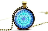 Chakra Mandala - Vintage Antique Bronze Tone Photo Glass Dome Necklace Pendant