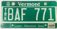 """Vintage Vermont Truck 2006 License Plate ~ Green Mountain State Tag """"BAF 771"""""""