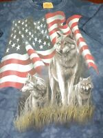 VTG 90's The Mountain Wolves American Flag Tie Dye T Shirt 2XL Y2K Wildlife #349
