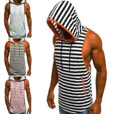 Magliette da uomo senza maniche multicolore a fantasia righe