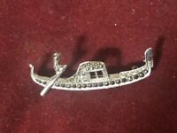 English Silver and Marcasite a Stunning Hallmarked Brooch Formed As a Gondola