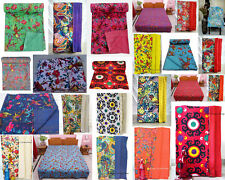 New Indian Handmade Real-Cotton Vintage Twin-Size Kantha Work Bedspreads Blanket