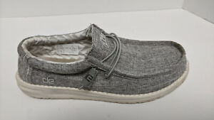 Hey Dude Wally Casual Shoes, Grey Linen, Men's 10 M
