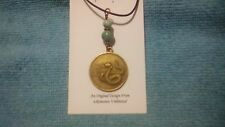 CHINESE Year Of The SNAKE PENDANT Mtn Jade Beads ZODIAC ASTROLOGY Medal Necklace