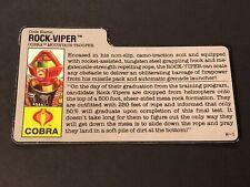HASBRO VINTAGE GI JOE ROCK-VIPER COBRA MOUNTAIN TROOPER BIO FILE CARD H-1