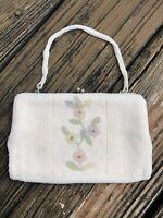 Vtg Delill Cream Ivory Pink Floral Beaded Purse Evening Bag Clutch 50s 60s Japan