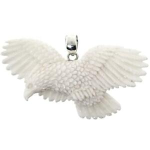 HAND CARVING FLYING EAGLE BISON BONE 925 STERLING SILVER pendant