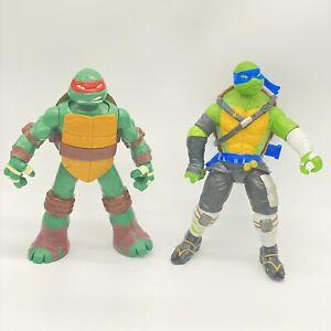 "2014 2015 Teenage Mutant Ninja Turtle Rafael Leonardo Action Figures Approx 10"""