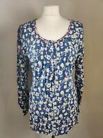 TU Women's Top Blouse UK 14 Blue Floral Print Viscose Scoop Neck Long Sleeve