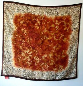 Oscar De La Renta Cream Gold Brown Animal Leopard Print Floral Silk Scarf