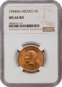 1944-MO MEXICO 5 CENTAVOS MS66 RD NGC CERTIFIED COIN FINEST KNOWN