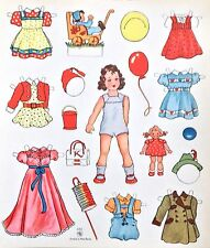 Old German Paper Doll, West Berlin, Uncut Card Stock, Little Girl, Dolly 1940's