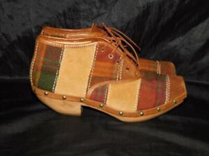 Alex by Mercury Italy Sz 7 37 Shoes Brown Red Plaid Patchwork Heels Ankle Boots